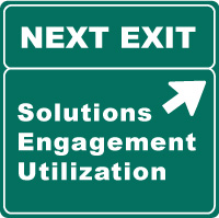 Highway exit sign illustrating annoying business buzzwords