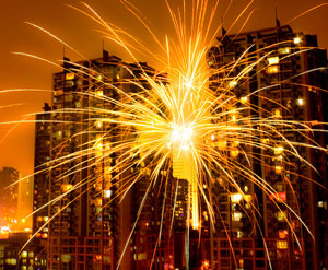 fireworks over an office building