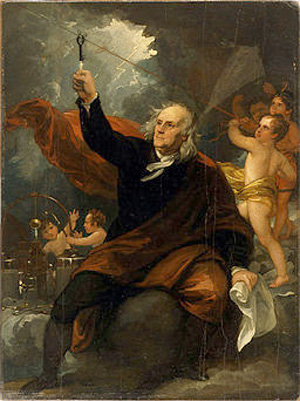 Benjamin Franklin Drawing Electricity from the Air 1816 Painting Benjamin West Philadelphia Museum of Art